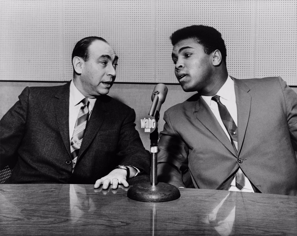 Muhammed Ali and Howard Cosell on 'Speaking of everything with Howard Cosell' on WABC radio in 1965. : Stock Photo