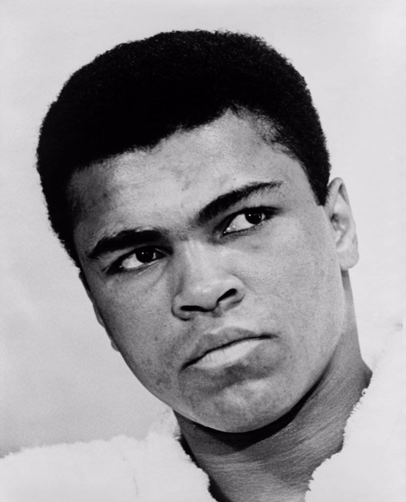 Stock Photo: 4048-6965 Muhammad Ali (b. 1942), in 1967, the year he refused induction into the U.S. military. He was found guilty on draft evasion charges, stripped of his boxing title and did not fight for nearly four years, until his conviction was reversed by the U.S. Supreme Court.