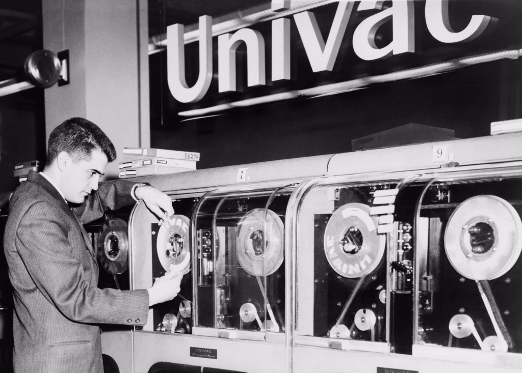 Stock Photo: 4048-6970 Univac was the first computer designed for commercial use and 46 were built and installed in the 1950s. Designed by J. Presper Eckert and John Mauchly and the name UNIVAC was shortened from Universal Automatic Computer. 1959 photo.