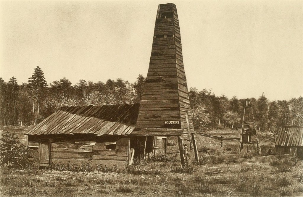 The original 1859 Drake oil well in Titusville, Pennsylvania, the 1st ever drilled in the U.S. : Stock Photo