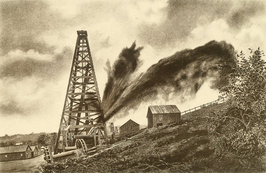Oil well with a side flowing gusher in the oil region of Pennsylvania, ca. 1880. : Stock Photo