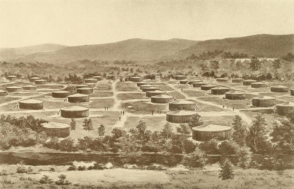 Stock Photo: 4048-7074 Oil storage tanks that held 35,000 gallons each in Olean, New York, the railroad and pipeline hub for the surrounding northwestern Pennsylvania oil region. Ca. 1880.