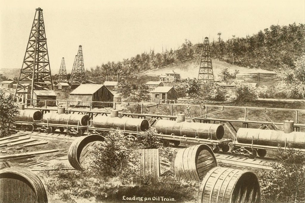 Stock Photo: 4048-7076 Loading an oil train in the Pennsylvania oil region. Ca. 1880.