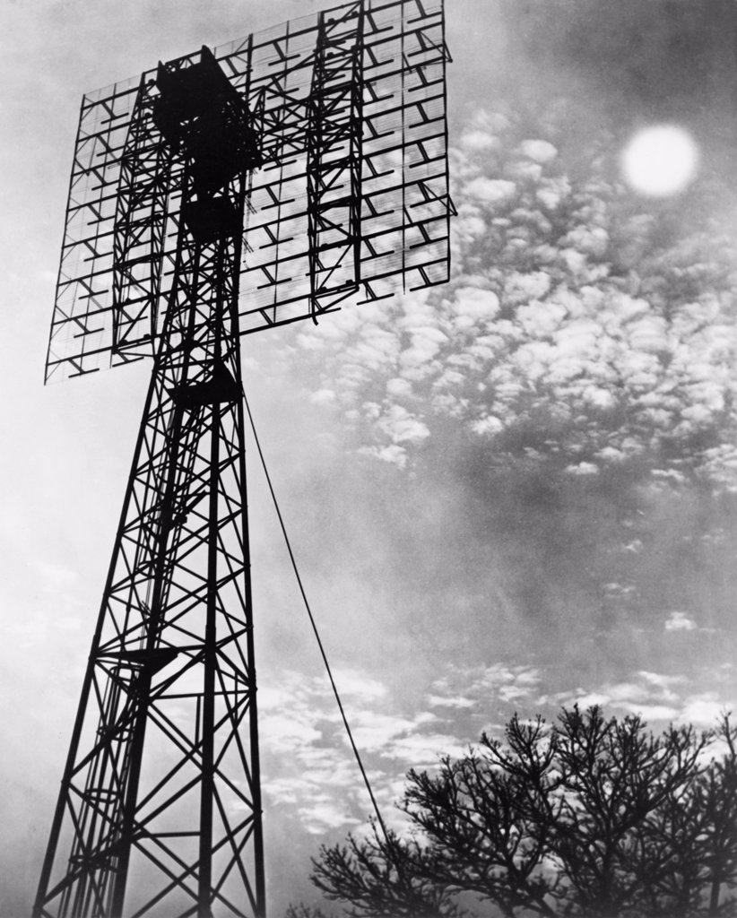 Stock Photo: 4048-7142 Antenna tower from which the first radar signal aimed at the moon was received back, two and a half seconds after it was sent. The project was lead Radar engineer John H. DeWitt, Director of the Evans Signal Laboratory of the U.S. Army at Belmar, N.J. in 1946.