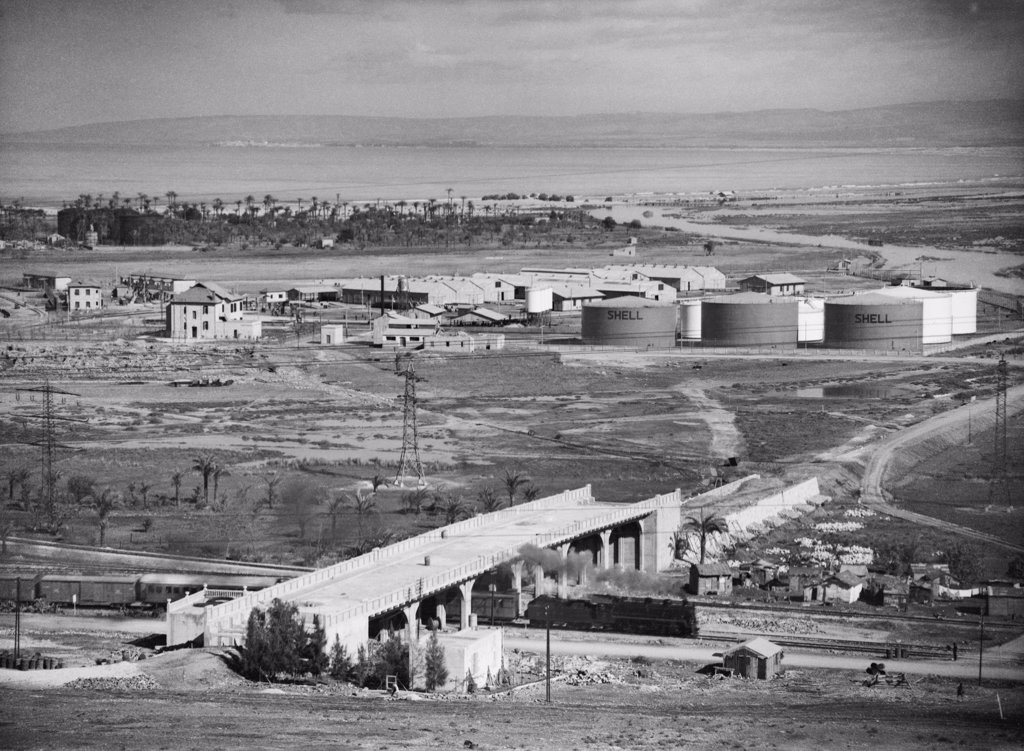 Stock Photo: 4048-7332 'Shell' oil tanks near Haifa, Palestine. Ca. 1934-39.