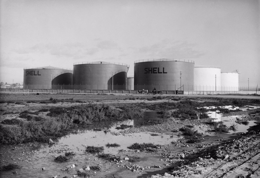 Stock Photo: 4048-7333 'Shell' oil tanks near Haifa, Palestine. Ca. 1934-39.