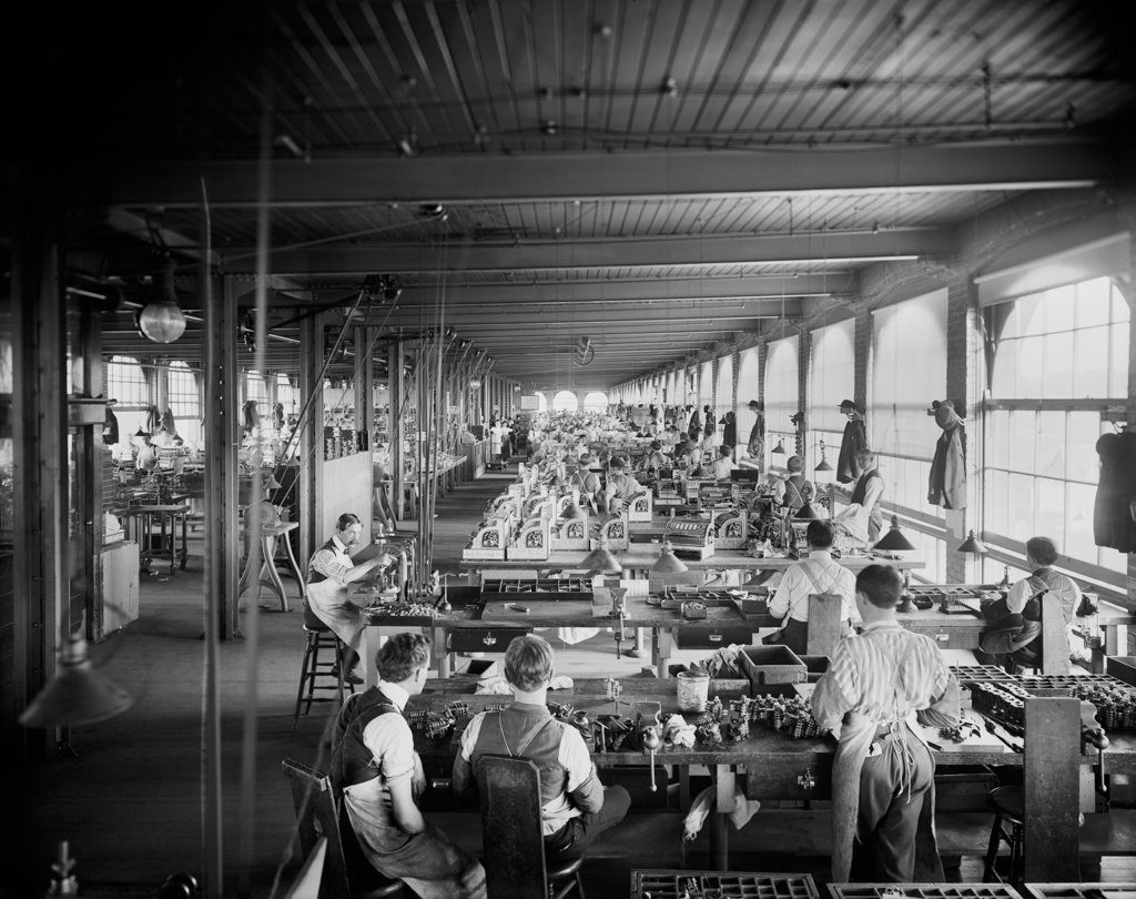 Assembling department, National Cash Register, Dayton, Ohio demonstrates mass production of precisely made complex products achieved during the 19th century. : Stock Photo