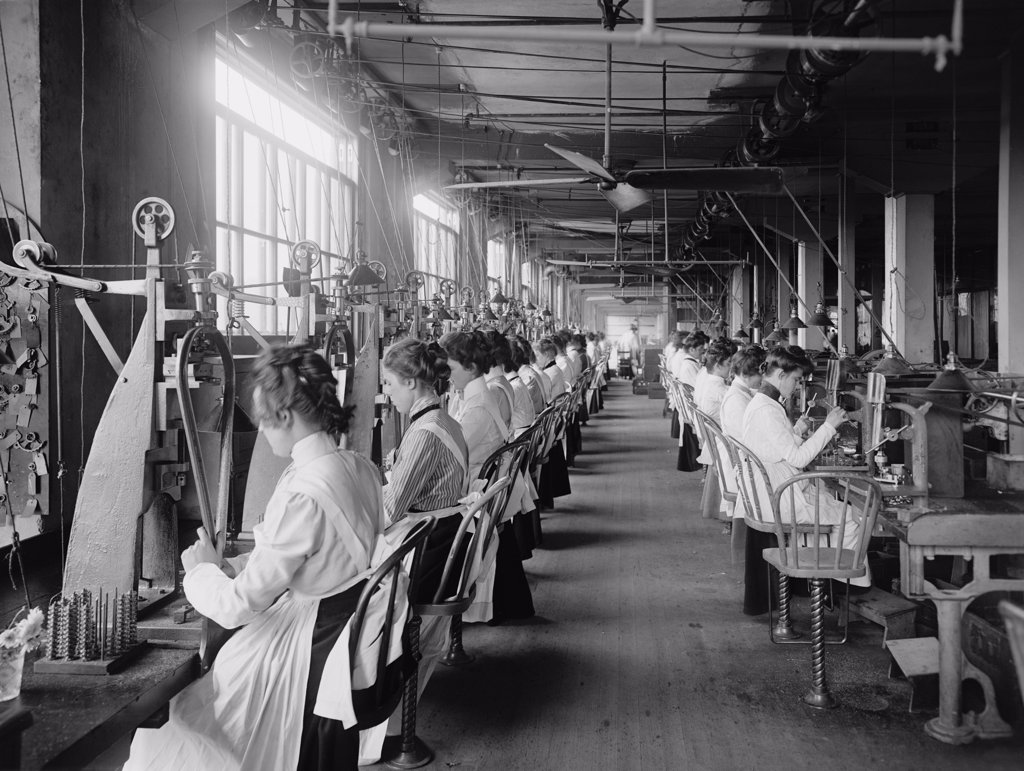 Lock and drill department assembly line of women workers at National Cash Register, Dayton, Ohio. C. 1902. : Stock Photo