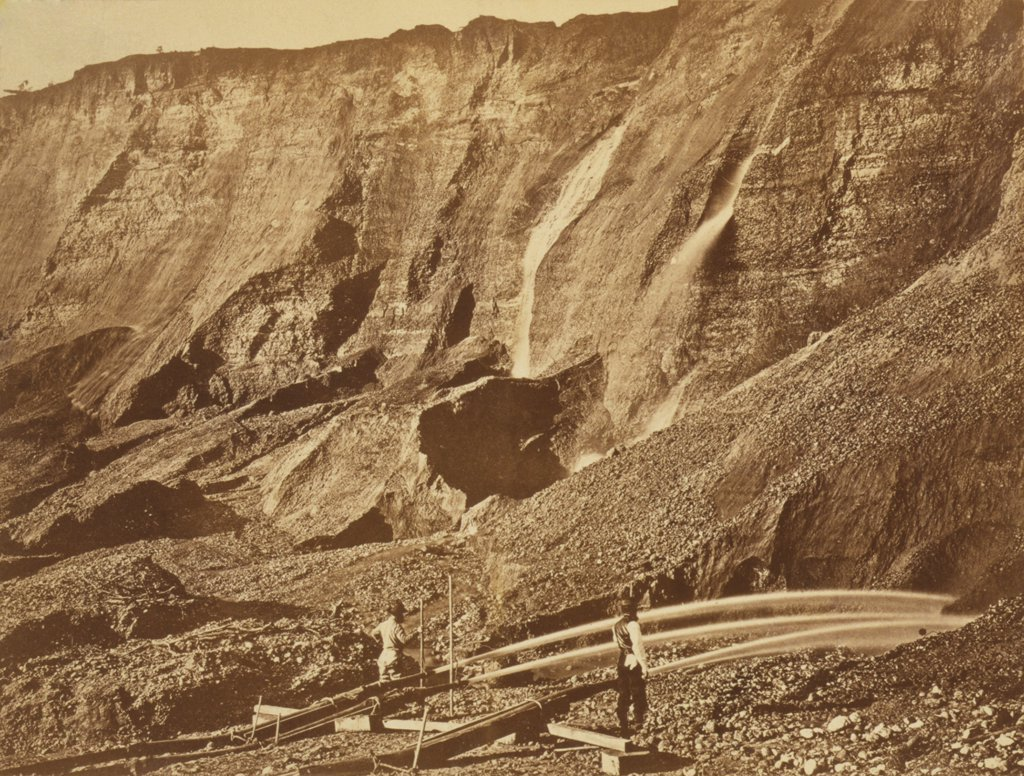 Stock Photo: 4048-7403 Hydraulic gold mining near Dutch Flat, California. Hydraulickers used jets of water to wash gold from mountains. 1868 photo by Andrew J. Russell