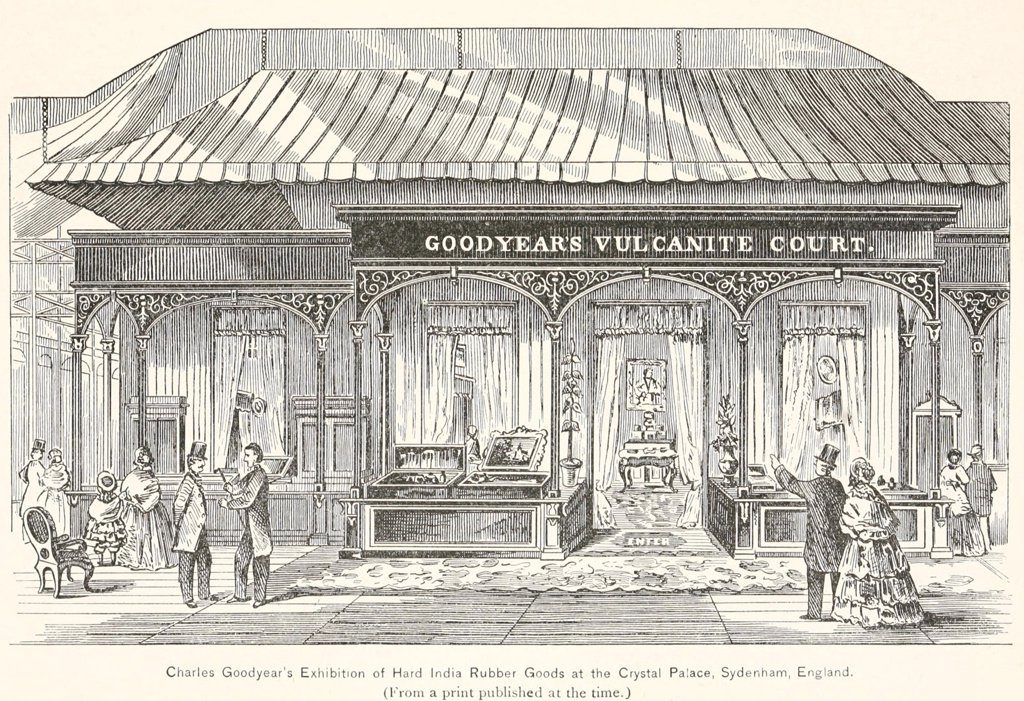Stock Photo: 4048-7427 Goodyear's Vulcanite Court, the Exhibition of Hard India Rubber Goods at the Crystal Palace Exhibition in 1851. Goodyear spend $30,000 on the display which included giant balloons, live-saving devices, rubber boats, shoes, medical instruments, and furniture, for which he won six awards.