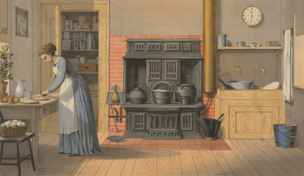 Woman working in an up-to-date kitchen of 1875. The cast iron stove replaced the open hearth fireplace for cooking. There is a sink with running water, but still no icebox or refrigerator. At left a woman rolls out dough for apple pies. : Stock Photo
