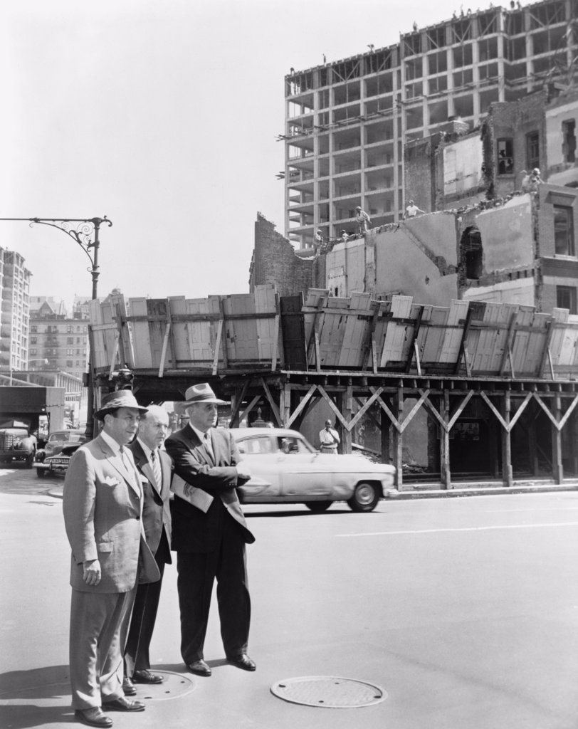 Mayor Robert Wagner (right), Robert Moses (left) and Frank Meistrell (center) on a housing project tour in New York City in 1956. Moses was New York's master builder for over 25 years. : Stock Photo