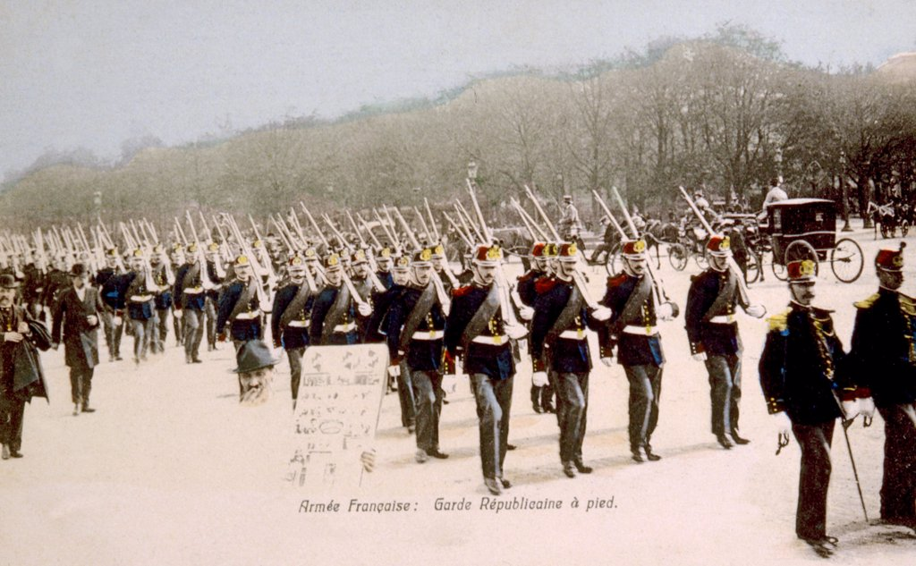 World War I, French Republican Guard troops, ca. 1914 : Stock Photo