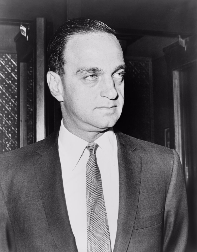 Stock Photo: 4048-7691 Roy M. Cohn 1927-1986 formerly an assistant to Senator McCarthy during his anti-Communist crusades created controversy by his politics ethics and famous clients throughout his career. Cohn was a played by actor James Woods in the 1992 biopic CITIZE