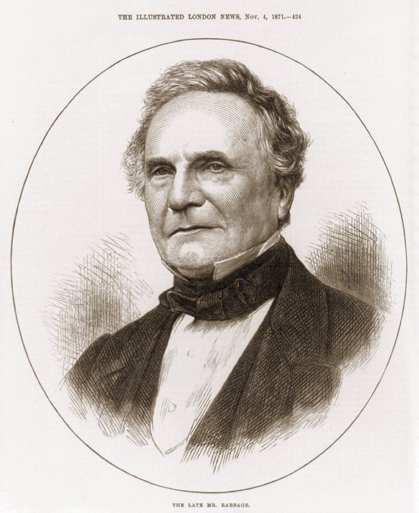 Stock Photo: 4048-7730 Charles Babbage 1792-1871 English mathematician and engineer who build the most advanced mechanical calculation device of his time. His mechanical computer anticipated the development of 20th century information technology. 1871.