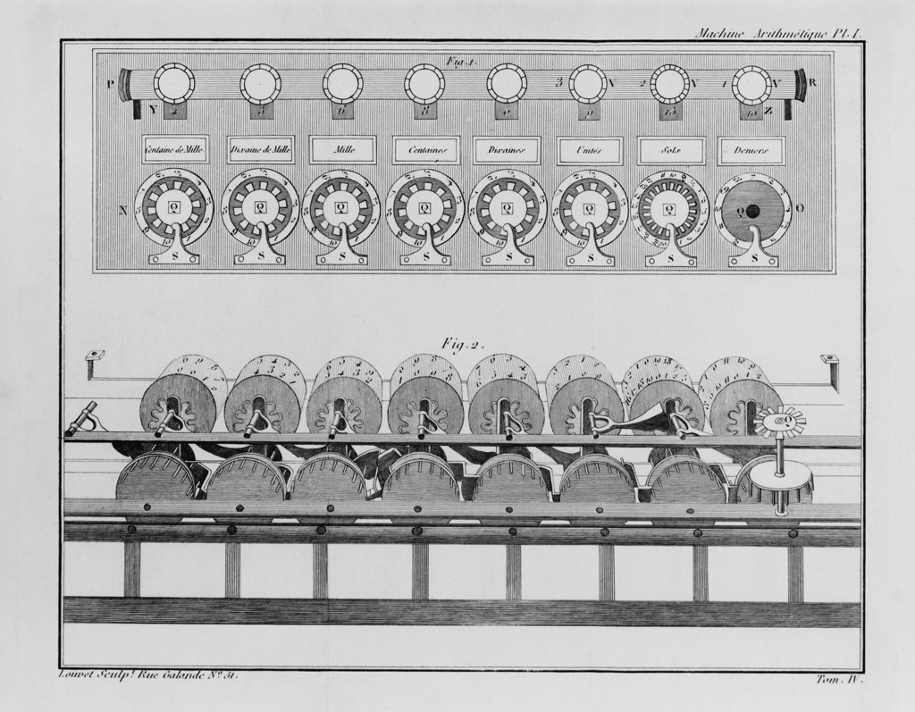 Stock Photo: 4048-7732 Calculating machine designed by French mathematician Blaise Pascal in 1642 when he was nineteen years old. It could perform addition and subtraction.