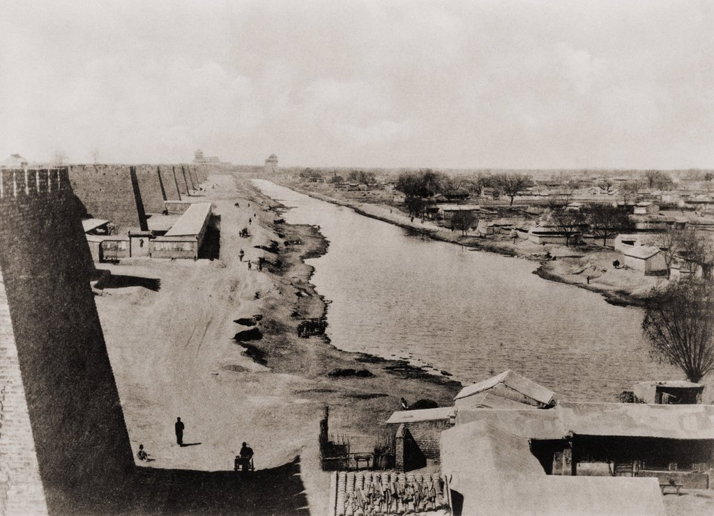 Beijing end of the China's ancient Grand Canal the world's oldest and longest. Its construction began in the 5th century B.C. and it runs 1200 miles from Beijing to southern China. Photo 1900. LC-USZ62-137083 : Stock Photo
