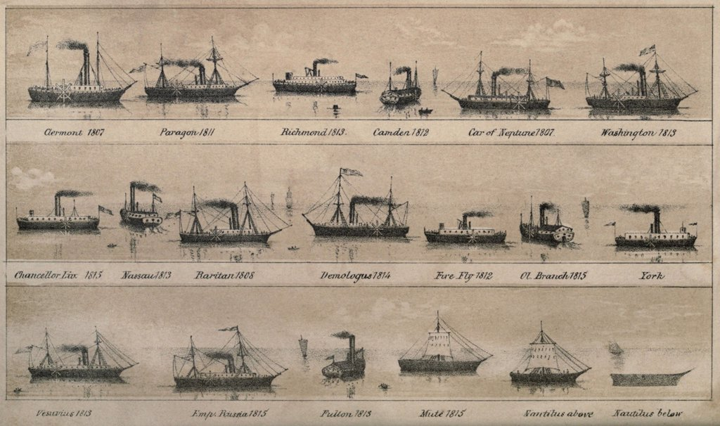 Stock Photo: 4048-7755 Print depicting 19 early steamships built between 1807 and 1815 including Robert Fulton's CLERMONT and NAUTILUS. lifeofrobertfult00reigrich_0024