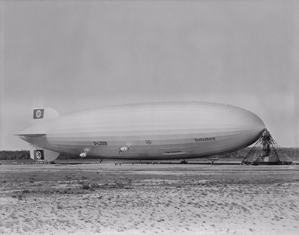 Stock Photo: 4048-7797 German airship HINDENBURG moored at Lakehurst New Jersey. Ca. 1933-1937 15-1418M