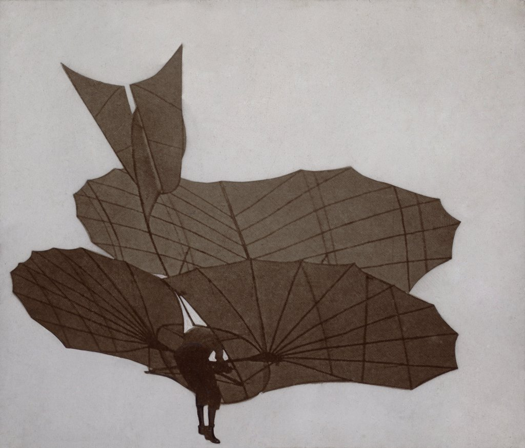 Otto Lilienthal 1848-1896 flying the two surface glider in which he made sustained scientifically documented flights in the early 1890s. He died in a failed flight in 1896. LC-DIG-ppmsca-02545 : Stock Photo