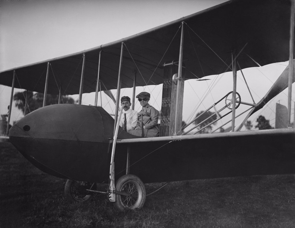 Stock Photo: 4048-7845 Orville Wright 1871-1948 and his sister Katharine aboard the Wright Model HS airplane in 1915 the year he sold the WRIGHT COMPANY and gradually retired from active flying. Orville never married and refused to speak to Katherine after her 1926 marriage. LC-DIG-ppprs-00588