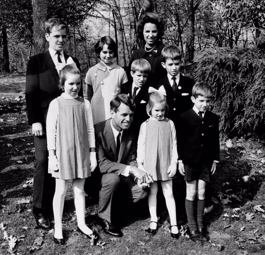 Stock Photo: 4048-8400 Senator-elect Robert Kennedy and wife Ethel with seven of their eight children. They were at the Bronx Zoo in New York City. Front, L-R: Mary, 85, the Senator-elect, Kerry, 5, and Michael, 6. Behind are L-R: Joseph,12, Kathleen, 13, David, 9, Ethel, Robert, Jr. 11. Ethel is expecting their ninth child. Nov. 6, 1964.