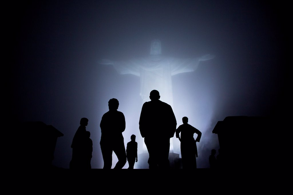 Stock Photo: 4048-8434 President Barack Obama, First Lady Michelle Obama, and daughters Sasha and Malia, tour the Christ the Redeemer statue in Rio de Janeiro, Brazil, March 20, 2011.