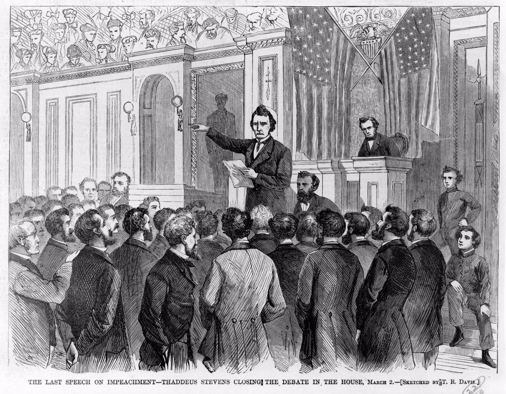 Stock Photo: 4048-8542 The Last speech on impeachment of President Andrew Johnson. Thaddeus Stevens closing the debate in the House, March 2 1868