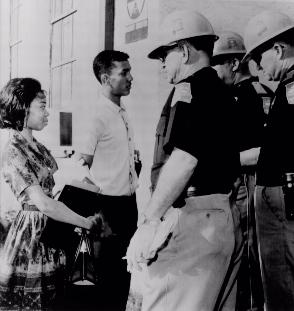 Stock Photo: 4048-8567 African Americans refused admission to Murphy High School. Dorothy Bridget Davis and Henry Hobdy were blocked by state troopers acting under orders of Governor George Wallace. Mobile, Alabama. 1963.
