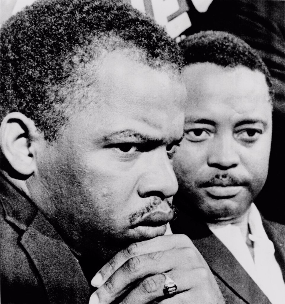 John Lewis (left) and Hosea Williams, leaders of the Voting Rights campaign in Selma Alabama in February-March 1965. Both men were later elected to the US House of Representatives from Georgia. : Stock Photo