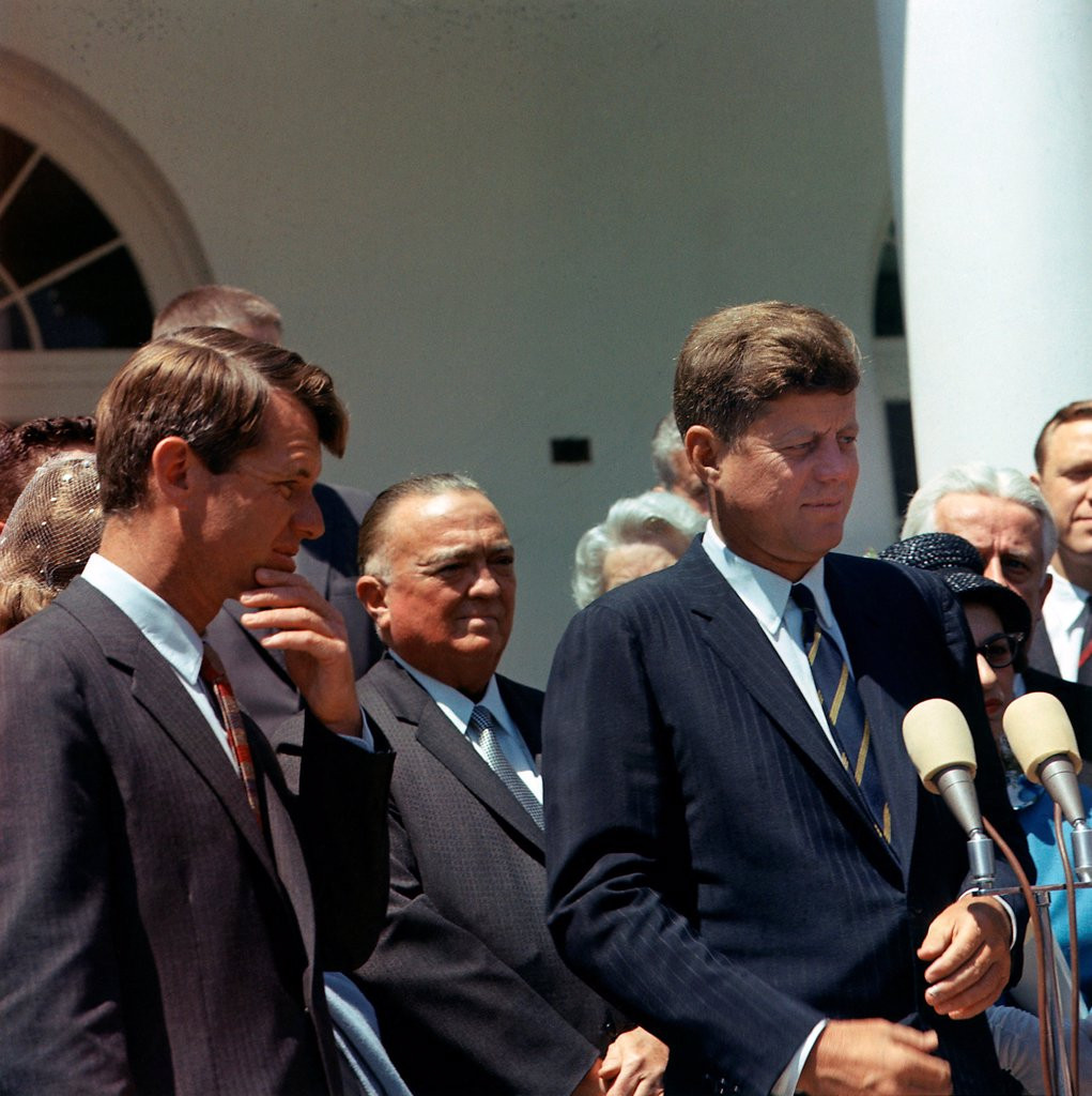 Stock Photo: 4048-8575 J. Edgar Hoover joins President John Kennedy for White House ceremony. L to R: Attorney General Robert Kennedy, J. Edgar Hoover, President Kennedy. May 7, 1963.