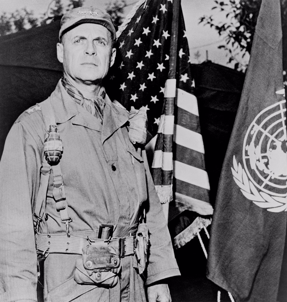 General Matthew Ridgway, Commander of United Nations forces in Korea. He replaced the insubordinate General Douglas MacArthur on April 11, 1951. It was his habit to wear two live hand grenades. : Stock Photo