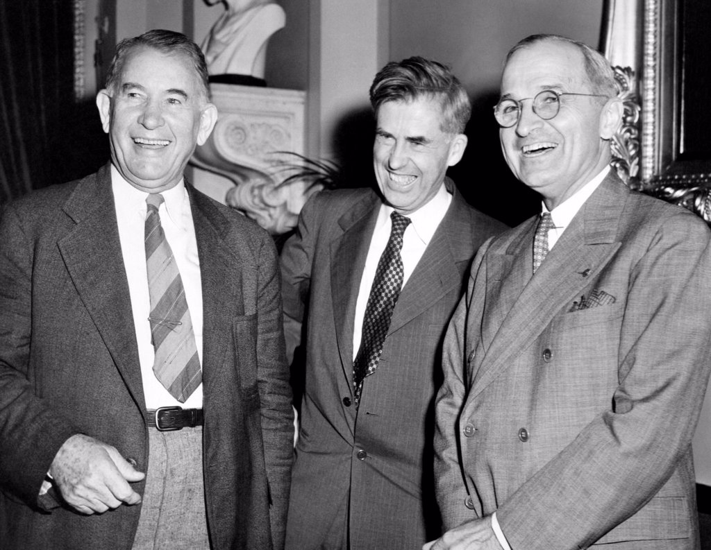 Stock Photo: 4048-8800 Three Vice Presidents. L-R: Alben Barkley, Henry Wallace, Harry Truman. Ca. 1940-44.