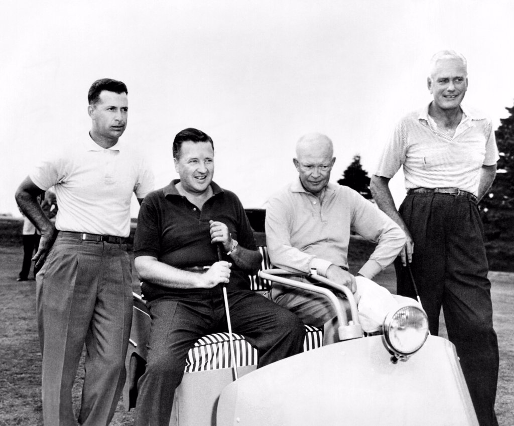 Stock Photo: 4048-8847 President Dwight Eisenhower with his golfing partner, Henry Ford II. L-R: Golf Pro Norman Palmer, Henry Ford II, President Eisenhower, Howard Cushing, Pres. Of Newport Country Club. Sept. 26, 1957.