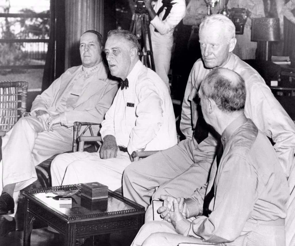 Stock Photo: 4048-8848 President Franklin Roosevelt at Pearl Harbor on June 11, 1944. L-R: General Douglas Mac Arthur, President Roosevelt, Admiral Chester Nimitz, and Admiral William Taft Leahy.