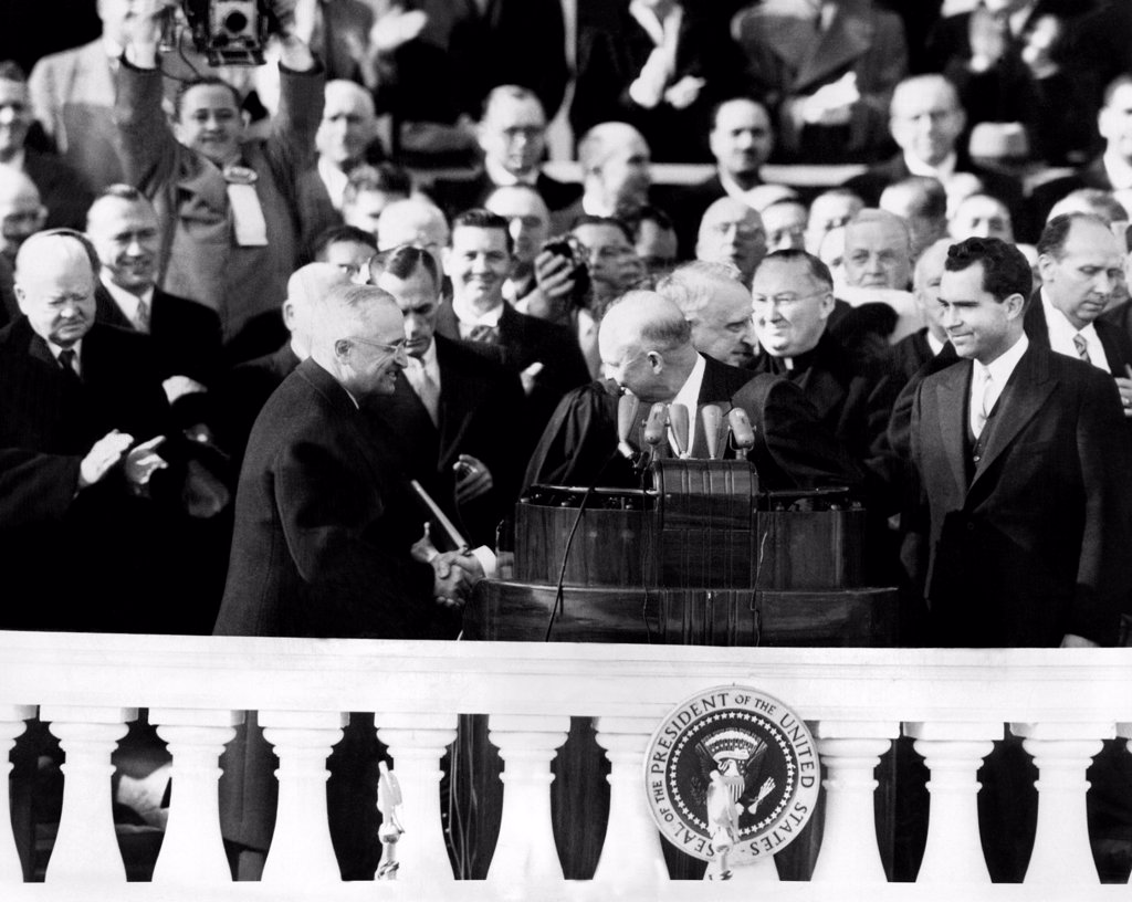 Stock Photo: 4048-8895 Four presidents at Dwight Eisenhower's first inauguration L-R: Herbert Hoover, Harry Truman, Eisenhower, and Richard Nixon. Jan. 20, 1953.
