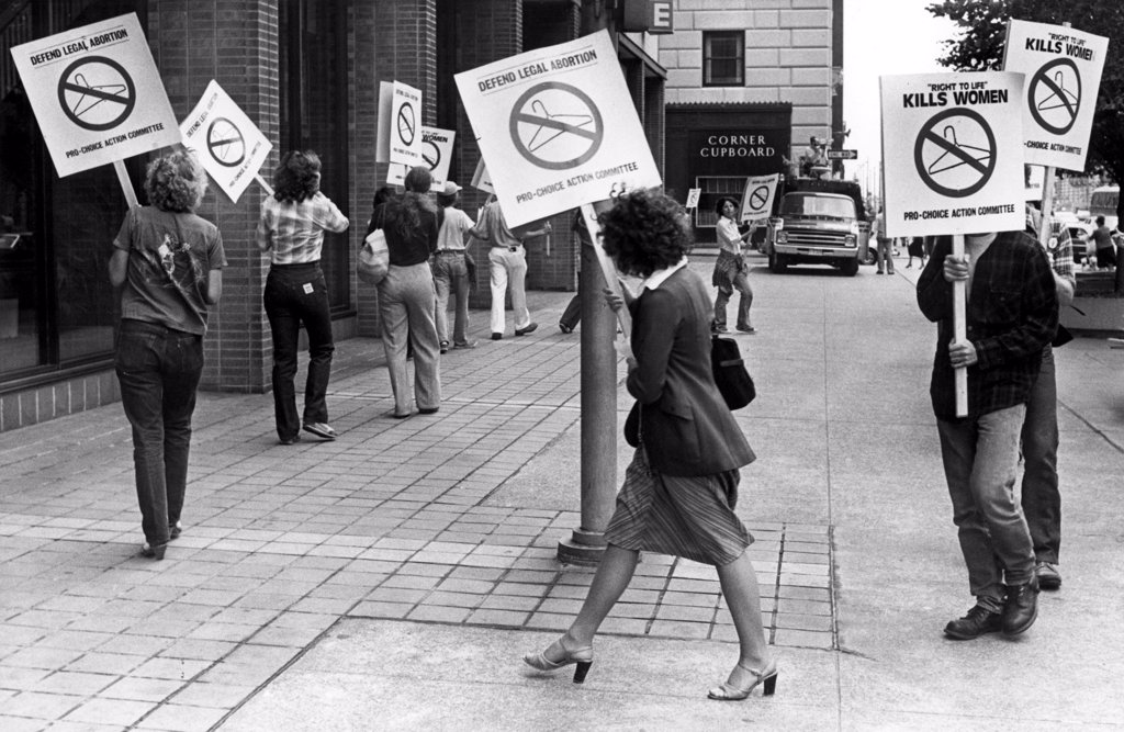 Stock Photo: 4048-893 Pro-Choice Action Committee of Cleveland picket in front of the Hallenden House, site of Right to Life Society convention.. 1979