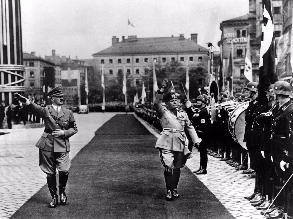 HITLER and Mussolini inspect a guard of honor in Munich, Germany 1937. : Stock Photo