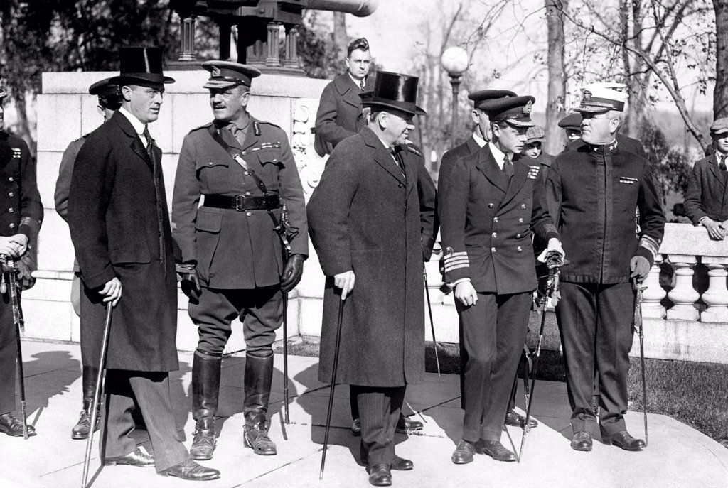 Stock Photo: 4048-9044 Franklin D. Roosevelt (left) was assistant secretary of the navy, under Josephus Daniels (center). On Daniels left is Edward, Prince of Wales, later Edward VIII. 1919.
