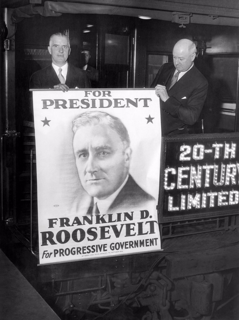 Giant poster of New York Governor Franklin Roosevelt, as a candidate for the Democratic presidential nomination. L-R: Edward J. Flynn, Secy of NYS, and James A. Farley (right) NYS Democratic Chairman, at Grand Central Station, NYC, as they left for Chicago. June 16, 1932. : Stock Photo