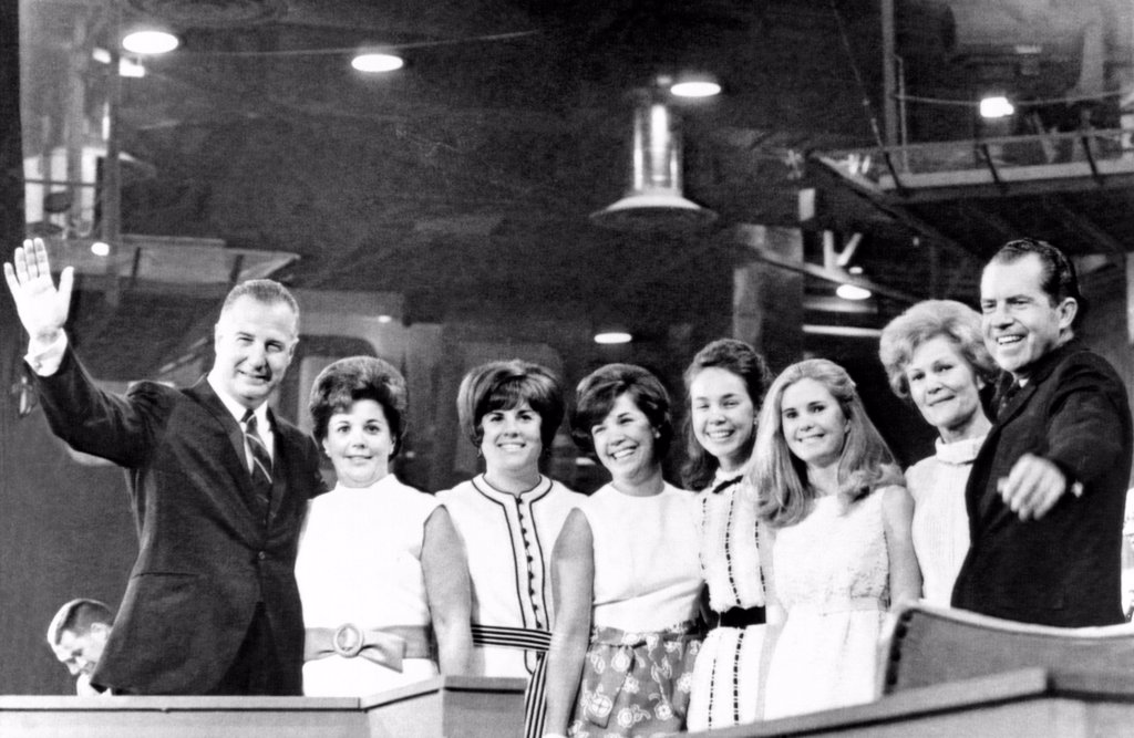 Stock Photo: 4048-9095 The 1968 Republican nominees and the of families. L-R: VP nominee Spiro Agnew, Judy Agnew, Pam Agnew, Susan Agnew, Julie Nixon, Tricia Nixon, Pat Nixon and Presidential nominee Richard Nixon. Aug. 9, 1968.