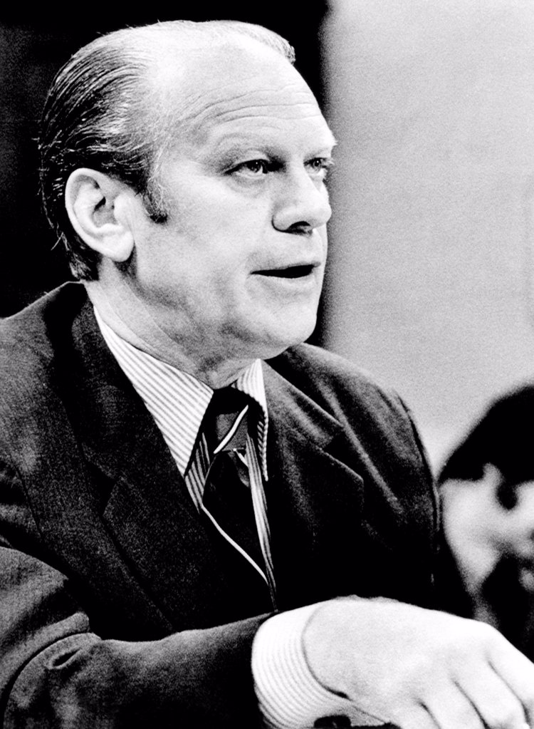 President Ford defends his 'full and unconditional pardon' of Richard Nixon. In his testimony before the House Judiciary subcommittee on Criminal Justice, he said made no agreement to pardon former President Nixon before he took over the presidency from him. Oct. 17, 1974. : Stock Photo