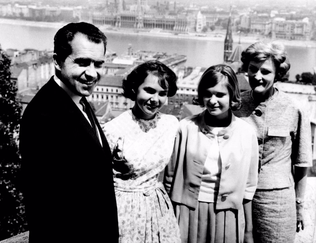 Stock Photo: 4048-9164 Richard Nixon and his family in Budapest, Hungary. L-R: Former Vice Pres. Nixon, Julie Nixon, Tricia Nixon, Pat Nixon. July 26, 1963.