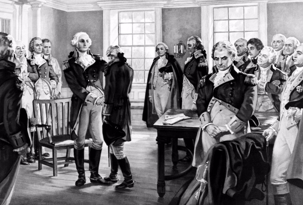 George Washington says farewell to his troops at Fraunces Tavern, New York, 1783. Painting by Hintermeister : Stock Photo