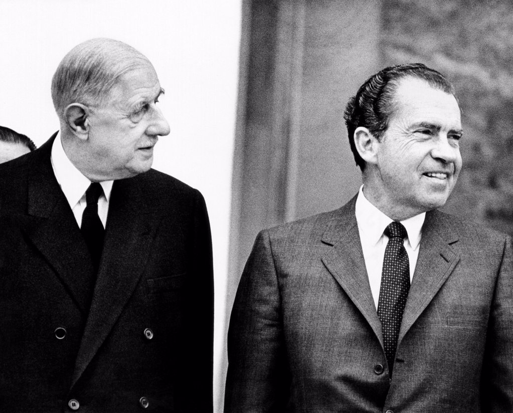 French President Charles de Gaulle and Richard Nixon in Paris for private talks. Newly inaugurated President Nixon was on a goodwill tour of Europe. March 1, 1969. : Stock Photo