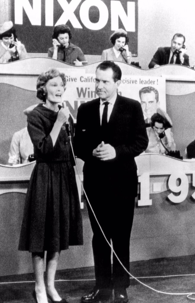 Former Vice President Richard Nixon campaigning for Governor of California. Candidate Nixon and his wife, Pat, appeared on a call-in Telethon on a Los Angeles television station. Nov. 3, 1962. : Stock Photo