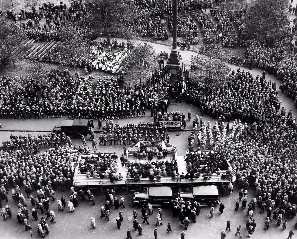 Armistice Day observance at the Eternal Light shrine, symbolic of those who lost their lives in France during World War I. Madison Square Garden, New York city, November 11, 1931 : Stock Photo