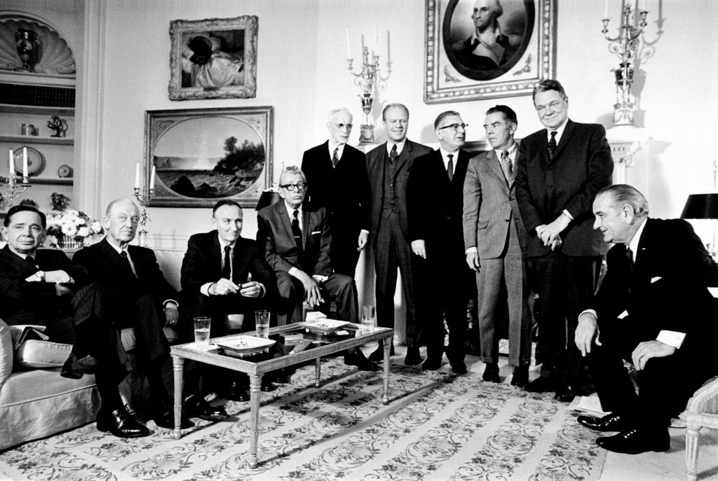 Stock Photo: 4048-9387 Soon to be succeeded by President-elect Richard Nixon, President Lyndon Johnson has a final meeting with Congressional leaders. L-R: Carl Albert, Leslie Arends, Mike Mansfield, Everett Dirksen, John McCormack, Gerald Ford, Wilbur Mills, James W. Burns, Hale Boggs, and President Johnson. Jan. 9, 1969.