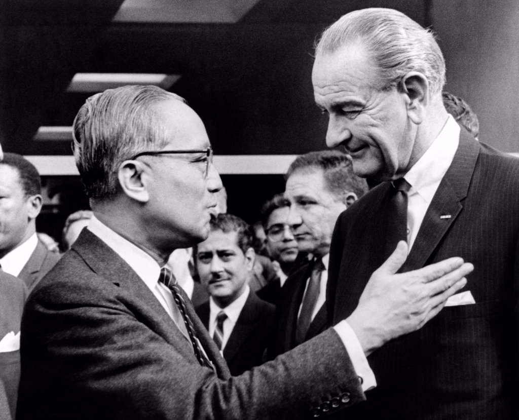 Stock Photo: 4048-9438 President Lyndon Johnson with United Nations Secretary General U Thant. LBJ was in New York for the installation ceremonies fro Archbishop Terence Cooke. April 4, 1968.