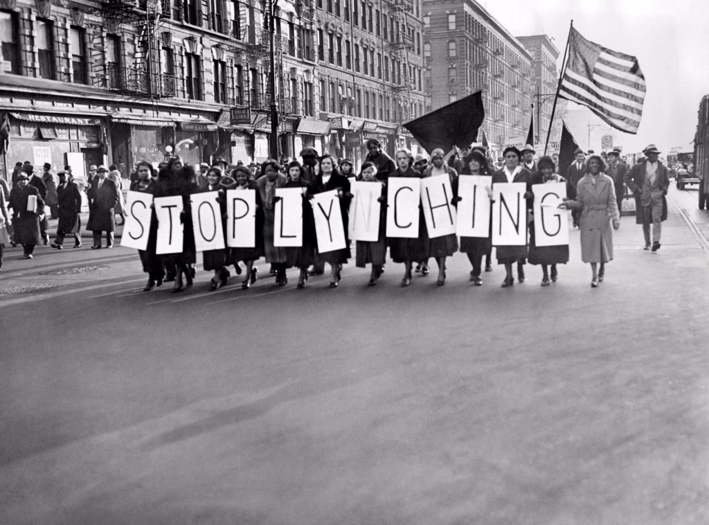 Stock Photo: 4048-9581 Harlem protests the Scottsboro verdict as a L-Y-N-C-H-I-N-G. Several hundred demonstrated against the death sentence of Heywood Patterson, one of the seven Scottsboro youths, on trial in Decatur, Alabama. Dec. 2, 1933,